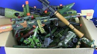 Big Box of Military Toys -Box Full of Guns Toys ! Military Gun,Trucks, Launch Rocket,Tanks Toy