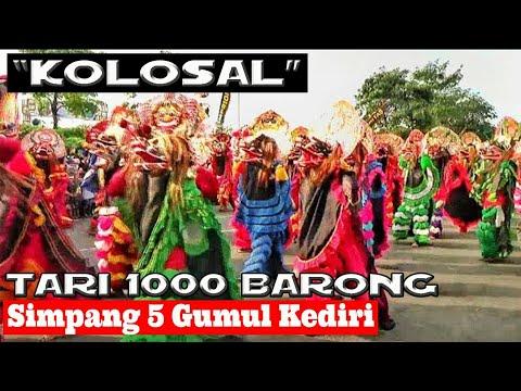 SEWU BARONG !!!---Tari Kolosal 1000 Singo Barong---Live SLG (Simpang Lima Gumul) KEDIRI