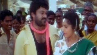My Boss - Big Boss Malayalam Movie Scenes - Megastar Chiranjeevi inaugurating a shop - Meena