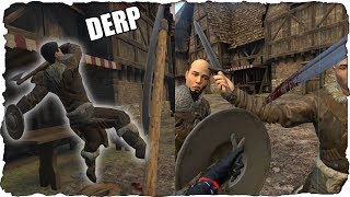 Wrecking Sword Posers in a Realistic Fantasy VR Game