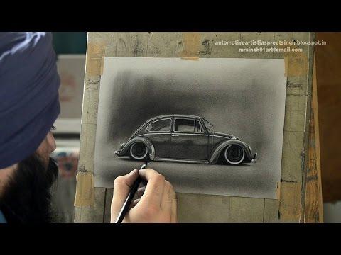 Volkswagen Beetle Charcoal Drawing by Artist Jaspreet Singh