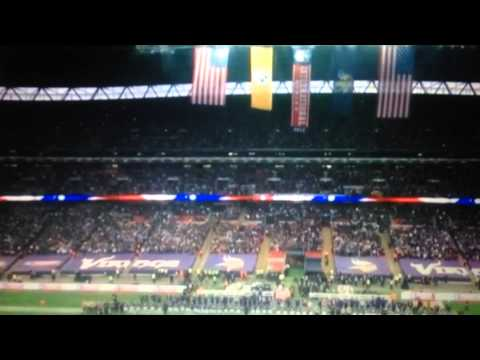Gene Simmons Of Kiss Sings National Anthem At Wembley, England 2013
