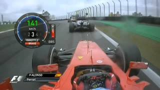 Alonso Start Brazil - Full Onboard (Natural Sounds) + Double overtake