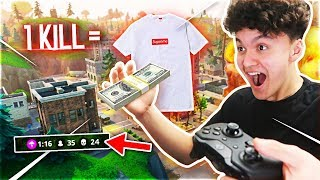 Giving My Little Brother $1,000 For Every Kill on Fortnite: Battle Royale (Supreme ONLY)