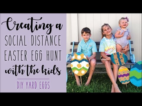 Creating a Social Distance Easter Egg Hunt with the Kids • Painting Wooden Yard Eggs • DIY