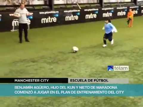 Benjamín el hijo del Kun Agüero y nieto de Maradona ya entrena en el City