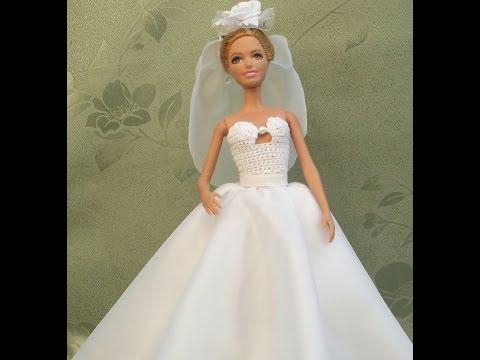 Белое платье для куклы своими руками 63