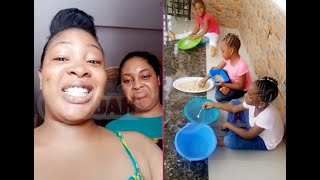 Bidemi Kosoko give her sister,Sola's Kids Funny punishment 4trouble they caused during this lockdown