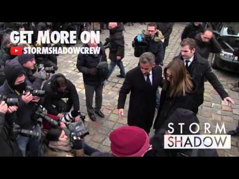 Nicolas Sarkozy and Carla Bruni at Jacques Chancel Funeral in Paris