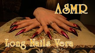 Red nails scratching tapping tapestry pillow ambient sound asmr