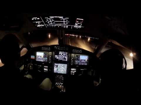 Pilatus Pc 12 Ng  Night Landing With Smartview Synthetic Vision
