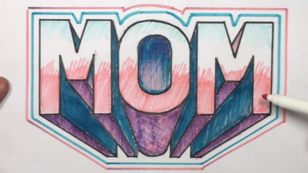 How to Draw 3D Block Letters MOM in One Point Perspective ...