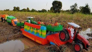 Build Bridge Blocks Toys For Children Tractors Excavator Dump Truck Toys