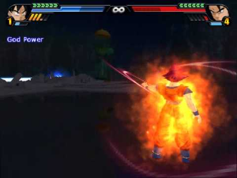 Goku transforms into a Saiyan God in the game Dragon Ball Z Budokai Tenkaichi 3
