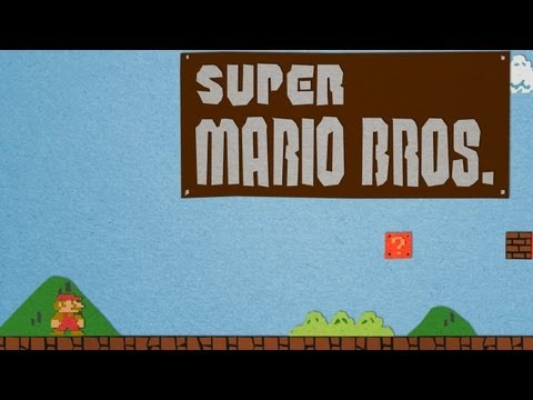 El primer nivel de Super Mario Bros recreado con papel