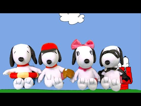 Peanuts Summertime Snoopy, Baseball Snoopy, Masked Marvel, and Belle Bean Plush from Just Play