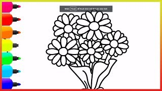 Coloring Bunch of Flowers  - Drawing And Coloring Pages For Kids