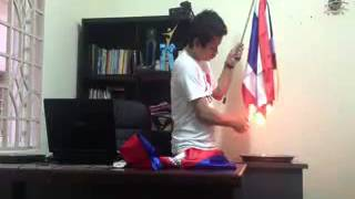 A Khmer Youth Burns Thai Flag After Thai Youth Burned Cambodian Flag