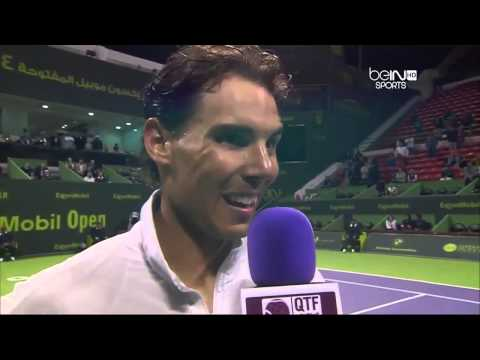 Rafael Nadal interwiev after the match with Ernest Gulbis ATP Doha 2014 masters 250