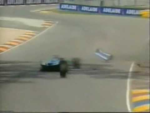 Michael Schumacher's big qualifying crash at the 1994 Australian Grand Prix.