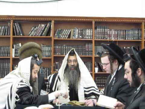 Admor Beis Shmiel Zvi Spinka Reading Megilah (book of esther) Purim 2013