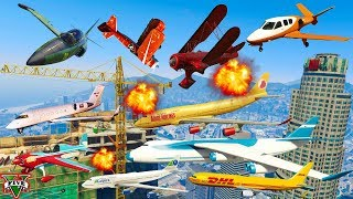 GTA V: Every Airplanes Crane Lost a Wing Crash and Fail Compilation (60FPS)