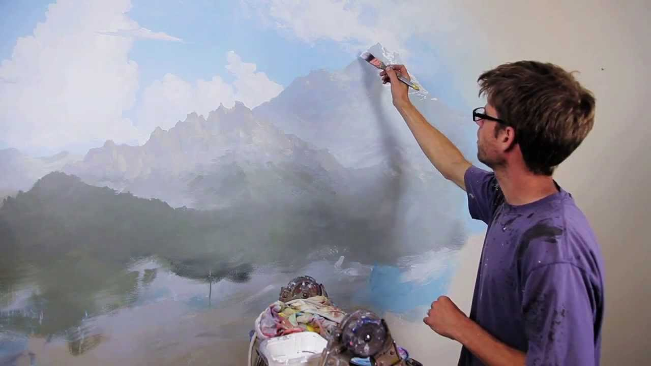 Clip from how to paint mountains with mural joe youtube for Mural joe painting