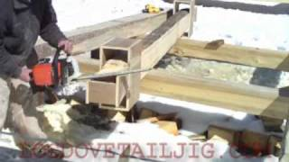 log dovetail jig cutting log cabin notches
