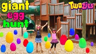 GIANT SURPRISE EGG HUNT AT THE PARK - Opening Toy Surprises - Friendship Day with Twozies