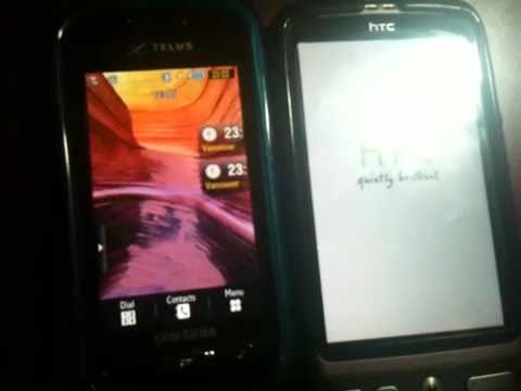 Boot up Samsung Advance (mom) vs HTC desire(mine)