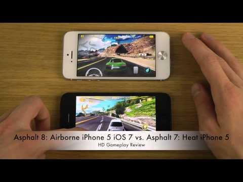 Asphalt 8: Airborne iPhone 5 iOS 7 vs. Asphalt 7: Heat iPhone 5 HD ...