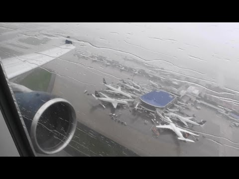 Incredible HD A330-300 Takeoff From Charlotte In A Heavy Rainstorm!!!