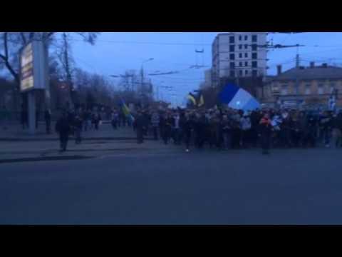 Марш фанатов Днепра под лозунгом Крым это Украина