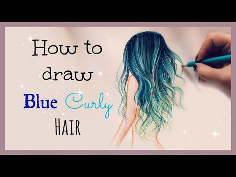 Drawing Tutorial ❤ How to draw and color Blue Curly Hair