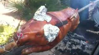 Gypsy food.....PIG ON POLE
