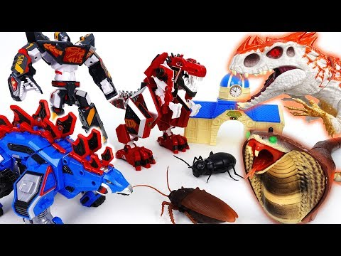 Go Go 3 Geo-Mecha RapTor Tyrannotooth Stegotank~! Battle With Hideous Monsters - ToyMart TV
