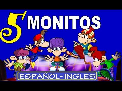CINCO MONITOS SALTARINES: Español/Ingles - con Letras