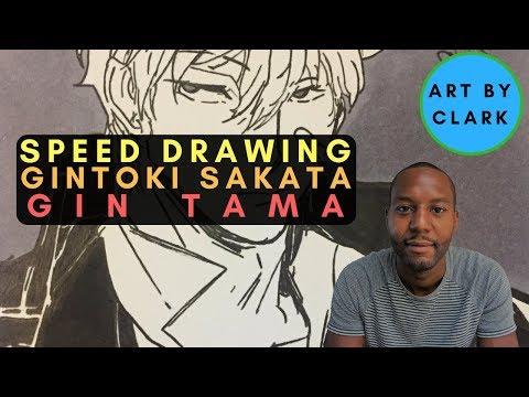 Gintoki Sakata from Gin Tama Anime | New 2017 Speed/Time Lapse Drawing | Art by Clark