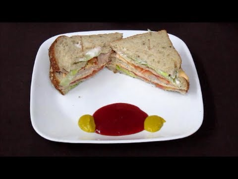 Chicken Sandwich Recipe in Hindi with Captions in English