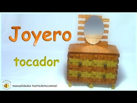 Manualidades joyero tocador hecho con pinzas de madera - Como decorar un joyero de madera ...