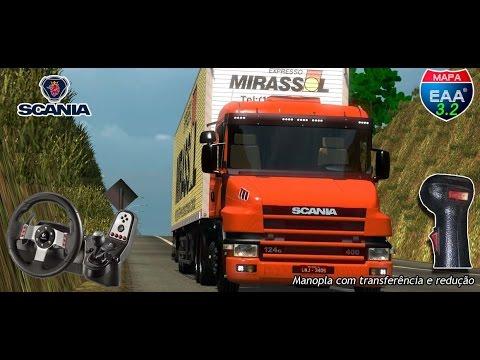 ETS 2: De SJ Rio Preto à Araxá de Scania 124G + baú Guerra (Logitech G27) + Download