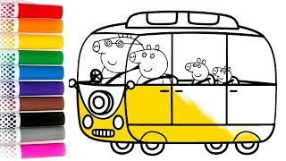 Drawing & Coloring Pages Video for kids Piggy Family Bus   Piggy Art for Kids