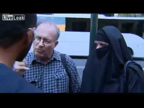 Muslim man angry at protesters wearing burqas
