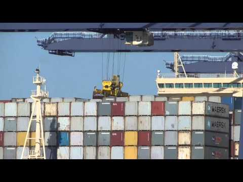 Shipping container unloaded off huge ship  Felixstowe docks 26Sep15 Suffolk  UK 1114p