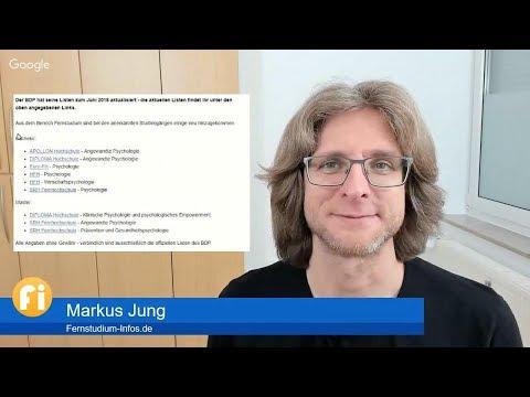 Vom Berufsverband BDP neu anerkannte Psychologie-Fernstudiengänge | News | Chat || Live-Vlog #012