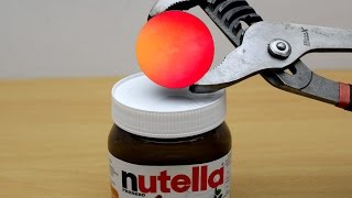 EXPERIMENT Glowing 1000 degree METAL BALL vs NUTELLA
