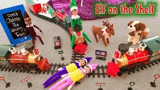 Elf on the Shelf - Green Prankster Elf Rides the Train Again! Did Gingerbread Man Make Him Do it???