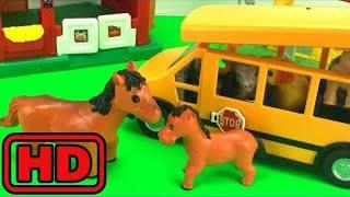 Kid -Kids -The Wheels On the Bus With Farm Animals/Fun Nursery Rhyme And Toys School Bus