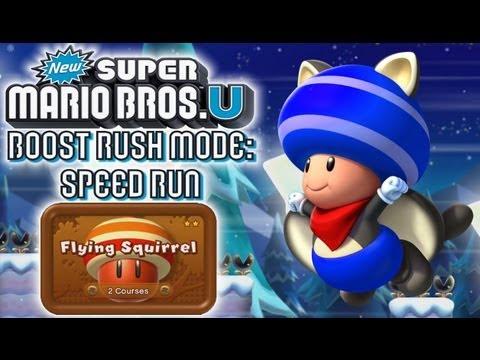 New Super Mario Bros U! (HD) - Boost Rush | Flying Squirrel Pack (Speed Run)