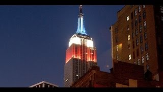 Empire State Building lit in Red White and Blue - Presidential Election Voting NYC